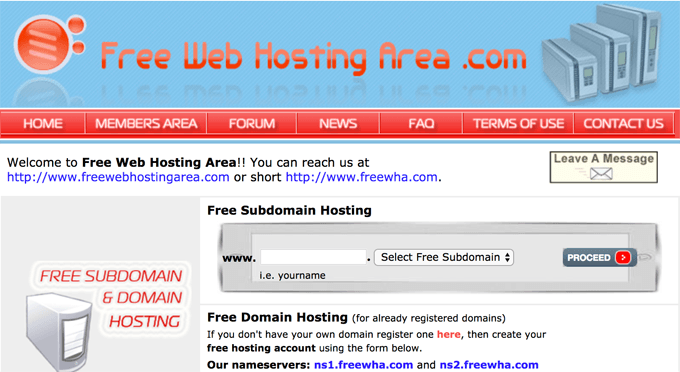 Free Web Hosting Area
